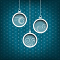 Three christmas balls swirls decoration vintage style blue background collection Stock Photography