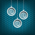 Three christmas balls waves decoration vintage style blue background collection Stock Photo