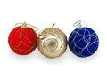 Three christmas balls on white background Royalty Free Stock Image