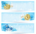 Three christmas banners with gift boxes and snowfl snowflake vector illustration Royalty Free Stock Photos