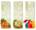 Three christmas banners with gift boxes and snowfl snowflake vector illustration Royalty Free Stock Photo