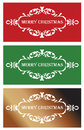 Three christmas banners in red green and golden shades Stock Image