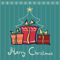 Three christmas gift boxes red vector illustration Royalty Free Stock Photo