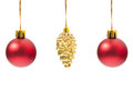 Three Christmas globes hanging Royalty Free Stock Photo