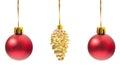 Three Christmas globes hanging Royalty Free Stock Photo