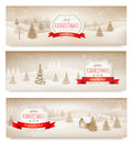 Three christmas holiday landscape banners vector Stock Photo
