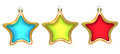 Three christmas stars on a white background. Stock Photo
