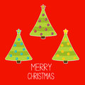 Three christmas trees with christmas balls merry christmas card tree vector illustration Royalty Free Stock Photos