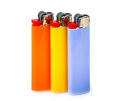 Three cigarette lighters isolated on white background Stock Photo