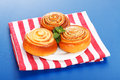 Three cinnamon rolls on white plate Royalty Free Stock Photography