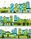 Three city life scenes