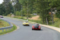 Three classic italian sports cars on road fiat spider at fiat freakout event in wintergreen virginia Stock Photography
