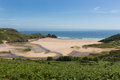 Three cliffs bay south coast the gower peninsula swansea wales uk front view Stock Image