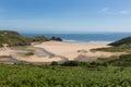 Three Cliffs Bay south coast the Gower Peninsula Swansea Wales uk Royalty Free Stock Photo