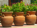 Three Coiled Clay Pots 2 Royalty Free Stock Photo