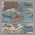 Three color landscape banners with fishing related sketches. Royalty Free Stock Photo