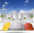 Three color of safety construction protective helmet on white ba background Royalty Free Stock Photo