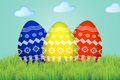 Three colored easter eggs grass Royalty Free Stock Images