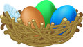 Three colored eggs lie in a nest easter illustration Royalty Free Stock Photography