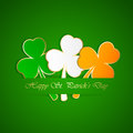 Three colored leaves clover green background illustration Royalty Free Stock Photo