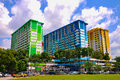 Three colorful apartment buildings in Rochor Center in Singapore Royalty Free Stock Photo
