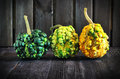 Three, colorful, autumn pumpkins Royalty Free Stock Photo