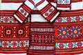 Three colorful belorussian towel and napkins with geometric patt woven pattern Royalty Free Stock Photos