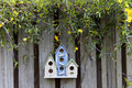 Three colorful birdhouses on old fence with yellow flowers Royalty Free Stock Photo