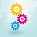 Three colorful gears Royalty Free Stock Photo