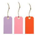 Three colorful gift hang tags Royalty Free Stock Photo