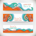 Three colorful horizontal banners with curved shapes as a wave or hill.