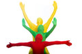 Three colorful people with arms outstretched Stock Images