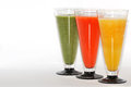 Three colorful smoothie diagonally different refreshing healthy drinks Stock Photos
