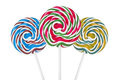 Three colorful spiral lollipops Royalty Free Stock Images