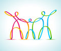 Three colorful swirly figures holding hands vector illustration of Stock Photos