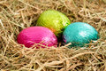 Three colouful foil wrapped easter eggs nestled straw nest Stock Image