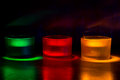 Three coloured candles Royalty Free Stock Photo
