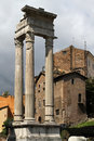 Three columns of the temple of apollo remaining form sosianus in ancient rome Stock Photos