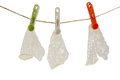 Three condoms on the rope Stock Images