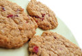 Three cranberry oatmeal cookies homemade on green plate Royalty Free Stock Photography