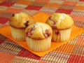 Three Cranberry Orange Muffins Royalty Free Stock Image