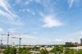 Three Cranes Under Big Sky Royalty Free Stock Photo