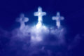 Three Cross Shaped Clouds  Stock Image