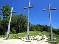 Three crosses hill in kazimierz dolny poland christian Royalty Free Stock Photography