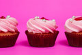 Three cupcakes a on the pink background Royalty Free Stock Image