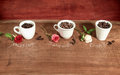 Three cups full of coffee beans with roses different colors on a wooden table Stock Photo