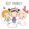 Three Cute cartoon girls Royalty Free Stock Photo