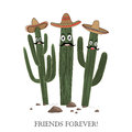 Three cute cartoon Saguaro cactus in sombrero. Friends forever text.