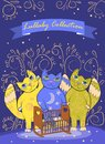 Three cute fairy cats lull a child. Border or cover design Royalty Free Stock Photo