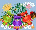 Three cute colorful cartoon owls sitting on tree branch with flowers
